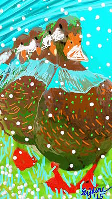 In A Row Mixed Media - Ducks In The Snow... by Suzaine Smith