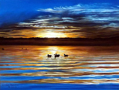 Painting - Ducks On Clear Lake by Linda Becker