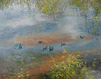 Azov Painting - Ducks On The Lake by Ivan Ormanzhi