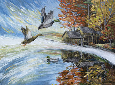 Painting - Ducks On The Millpond by Paula Blasius McHugh