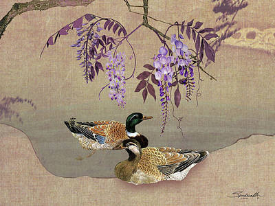 Digital Art - Ducks Under Wisteria Tree by IM Spadecaller