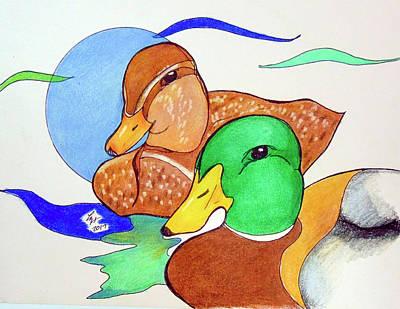 Drawing - Ducks2017 by Loretta Nash