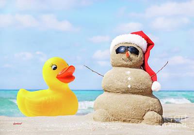 Ducky And Santa At The Beach Art Print
