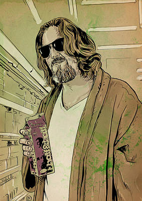 Comedy Drawing - Dude Lebowski by Giuseppe Cristiano