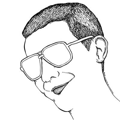 Dude Drawing - Dude With Glasses by Karl Addison