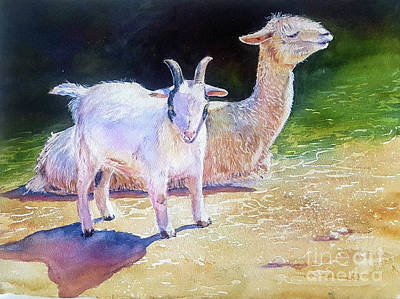 Llama Painting - Dudes by Patricia Pushaw