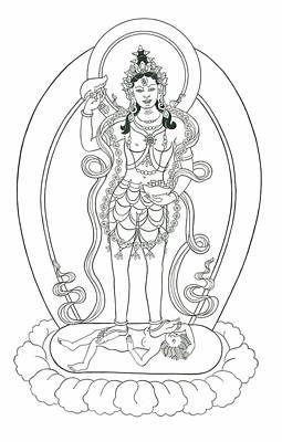 Tibetan Buddhism Drawing - Dudjom Tersar Vajrayogini by Andrea Nerozzi