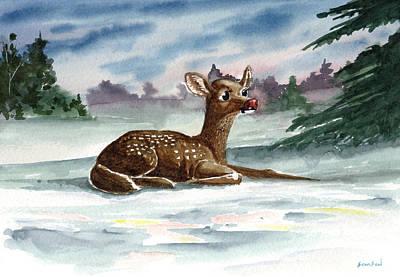 Dudolf The Red Nosed Reindeer Original by Sean Seal