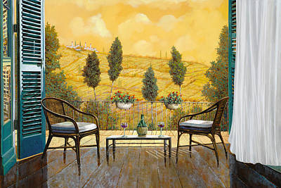 Table Wine Painting - due bicchieri di Chianti by Guido Borelli