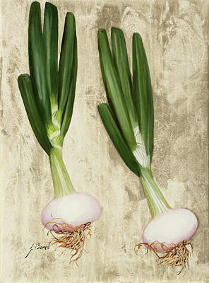 Onion Wall Art - Painting - Due Cipollotti by Guido Borelli