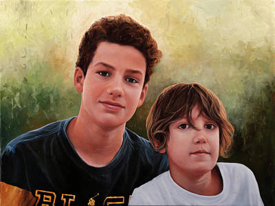 Portraits Paintings - Due Ragazzi by Guido Borelli