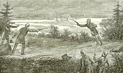 Hudson River Drawing - Duel Between Alexander Hamilton And Aaron Burr by American School