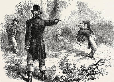 Restored Drawing - Duel Between Burr And Hamilton by American School