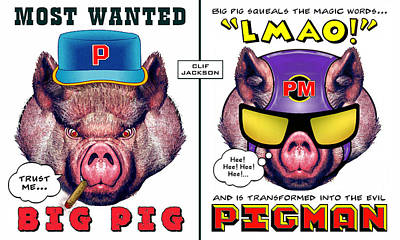 Digital Art - Big Pig - Alter Ego by Clif Jackson