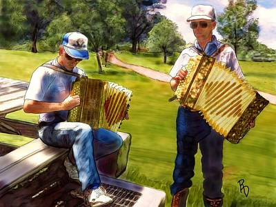 Digital Art - Dueling Accordions by Ric Darrell