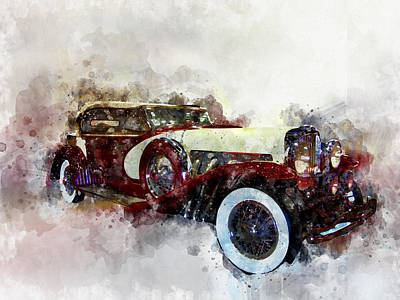 Photograph - Duesenberg Watercolor by Michael Colgate