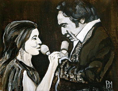 Johnny Cash Painting - Duets by Pete Maier