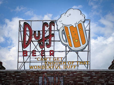 Photograph - Duff Beer Sign by Wade Brooks