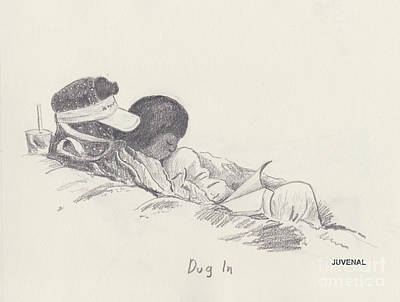 Drawing - Dug In by Joseph Juvenal