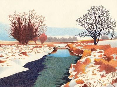 Drawing - Dugout Creek by Dan Miller