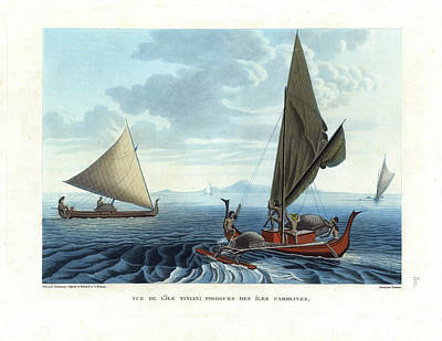 Drawing - Dugout Outriggers From The Carolines Seen On Tinian Island by d apres A Berard and A Taunay
