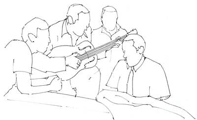 Jazz Band Drawing - Duke And Django Jam Session by Pablo Franchi
