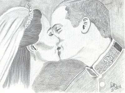Kate Middleton Drawing - Duke And Duchess Of Cambridge by DebiJeen Pencils