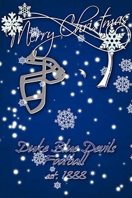 Duke Blue Devils Christmas Card Art Print by Joe Hamilton