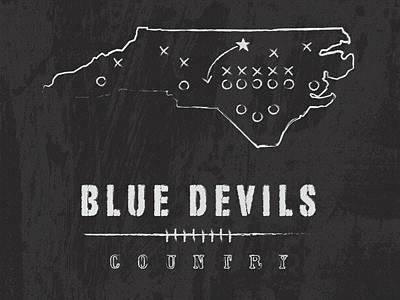 Duke Blue Devils / Ncaa College Football Art / Durham North Carolina Art Print by Damon Gray