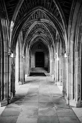 Photograph - Duke Chapel Archways In Black And White by Anthony Doudt