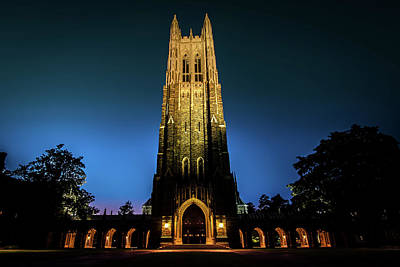 Photograph - Duke Chapel Lit Up by Anthony Doudt