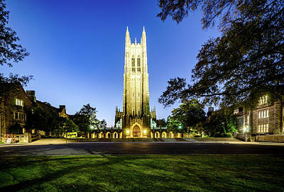 Photograph - Duke Chapel Lit Up At The Blue Hour by Anthony Doudt