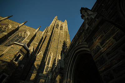 Photograph - Duke Chapel Shadows And Golden Sunset by Anthony Doudt