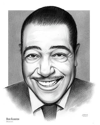 Musicians Drawings - Duke Ellington 2 by Greg Joens