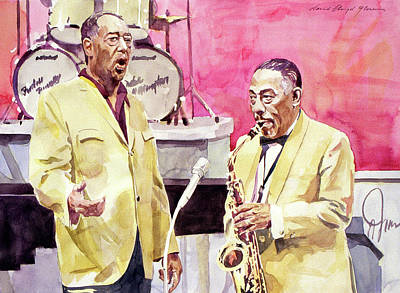 Jazz Painting Royalty Free Images - Duke Ellington and Johnny Hodges Royalty-Free Image by David Lloyd Glover