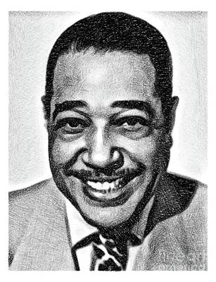 Musicians Drawings - Duke Ellington, Music Legend by JS by John Springfield