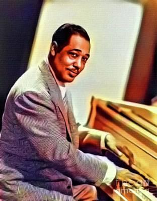 Musicians Royalty Free Images - Duke Ellington, Music Legend. Digital Art by MB Royalty-Free Image by Mary Bassett