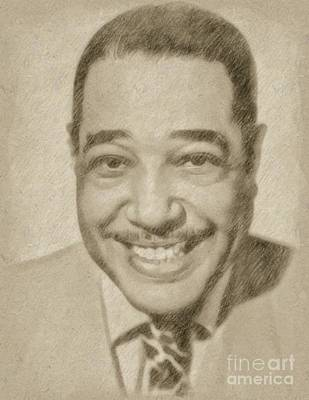 Famous Musician Drawing - Duke Ellington, Musician by Frank Falcon