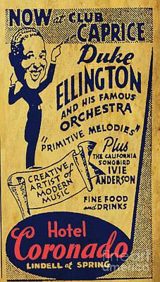 Flyers Drawing - Duke Ellington Old Flyer by Pablo Franchi