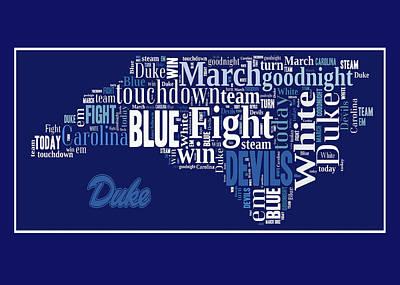 Digital Art - Duke Fight Song Greeting Card by Paulette B Wright
