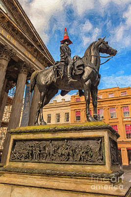 Digital Art - Duke Of Wellington Statue Digital Painting by Antony McAulay