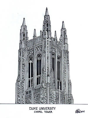 Drawing - Duke University Chapel Tower by Frederic Kohli
