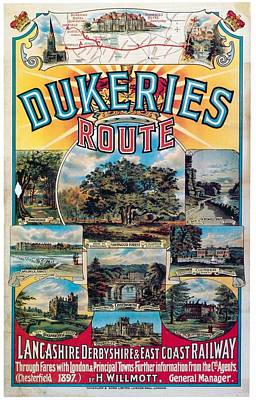 Royalty-Free and Rights-Managed Images - Dukeries Route - Lancashire Derbyshire and Eastcoast Railway - Retro travel Poster - Vintage Poster by Studio Grafiikka