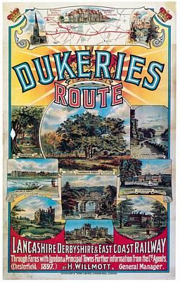 Mixed Media - Dukeries Route - Lancashire Derbyshire And Eastcoast Railway - Retro Travel Poster - Vintage Poster by Studio Grafiikka