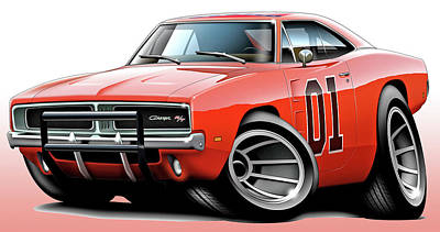 Dukes Of Hazzard General Lee Art Print by Maddmax