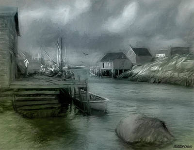 Digital Art - Dull Fall Day In Peggys Cove by Ken Morris