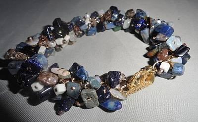 Wire Wrap Bracelet Jewelry - Dumorite, Opal, Goldmine Bracelet by Karen Matthews