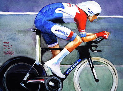 Dumoulin Wins The Time Trial Art Print by Shirley Peters