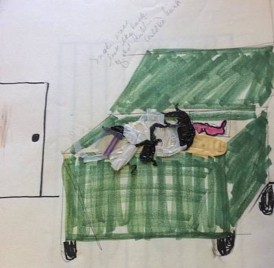 Drawing - Dumpster by Erika Chamberlin