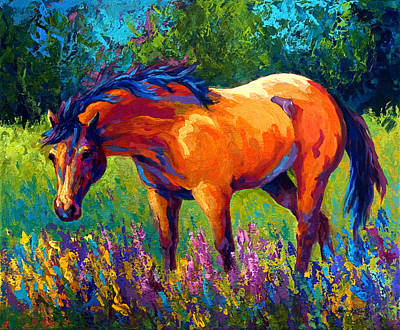 Equine Painting - Dun Mare by Marion Rose